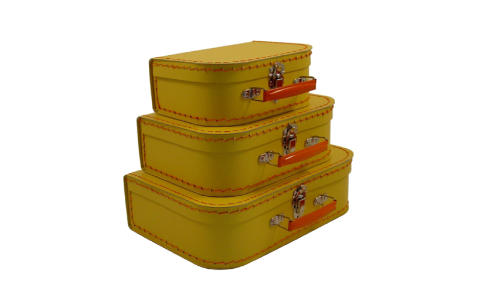 Valise jaune en carton pour enfant Kazeto