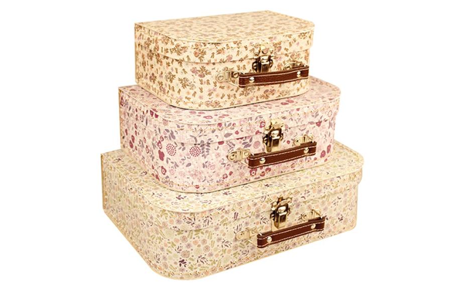 Valise en carton à motifs floraux pour enfant Kazeto