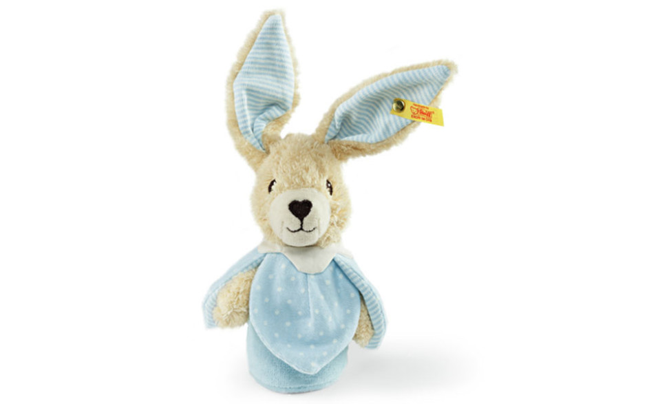 Steiff Lapin Hoppel jouet crépitant, bleu 15 cm
