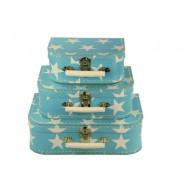 Valise en carton bleue pour enfant avec des étoiles blanches Kazeto