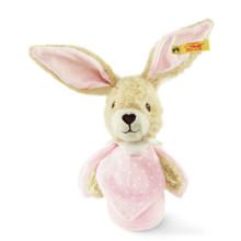 Steiff Lapin Hoppel jouet crépitant, rose 15 cm