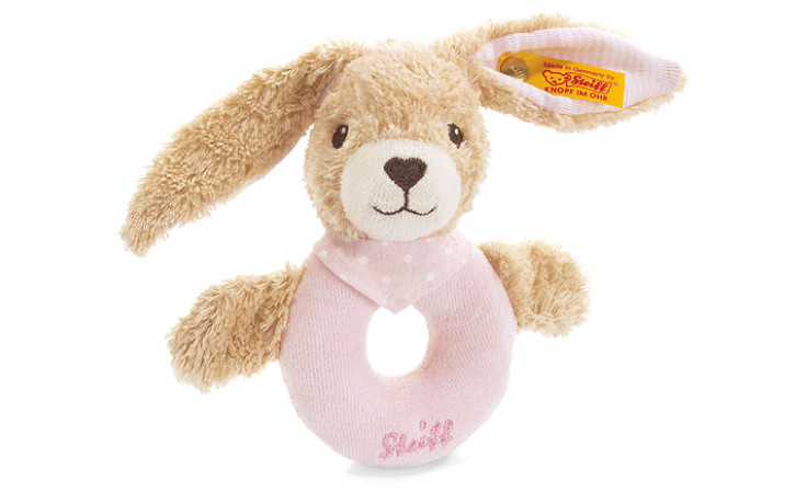 Steiff Hoppel rabbit grip toy, pink 12 cm