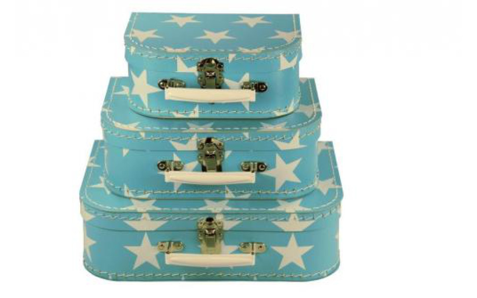 Kazeto Cardboard Suitcase kids blue with white stars