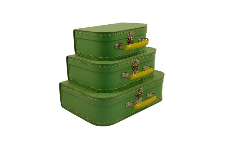 Valise verte en carton pour enfant Kazeto