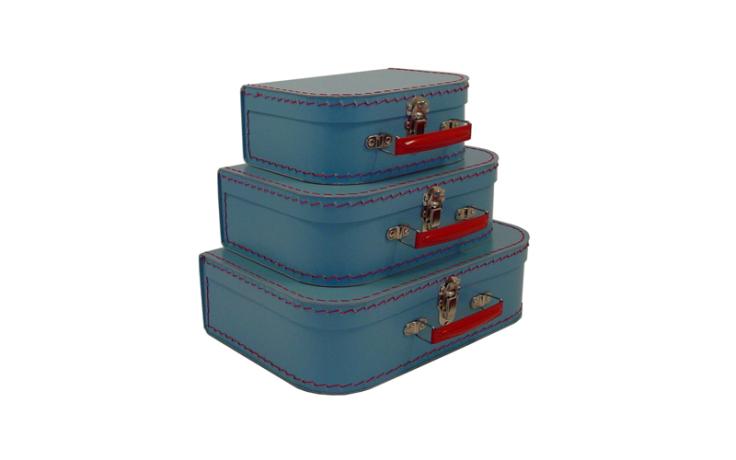 Valise bleue en carton pour enfant Kazeto