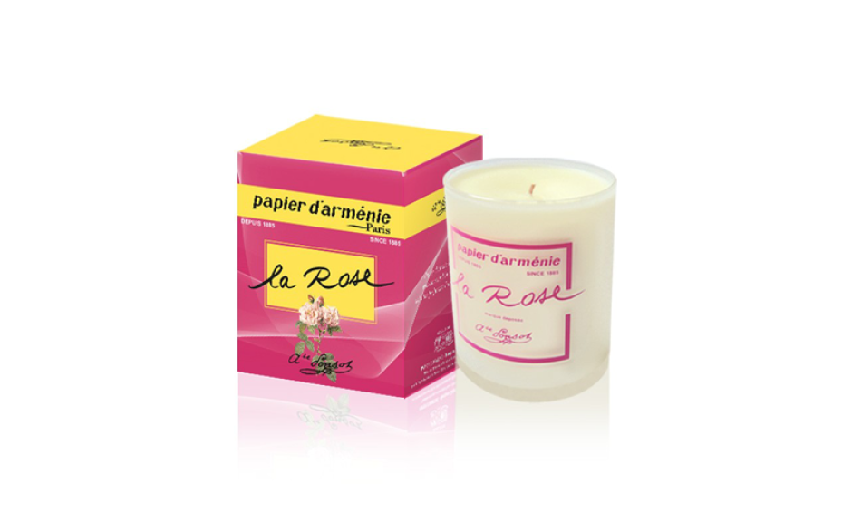 Bougie parfumée Rose, Papier d'Arménie