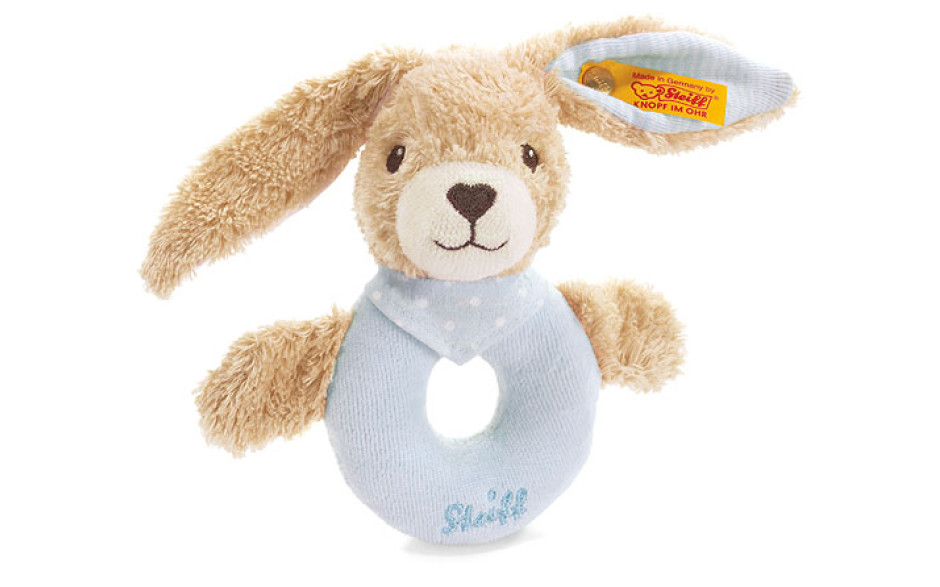 Steiff Hoppel rabbit grip toy, blue 12 cm